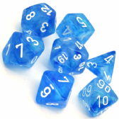 Sky Blue & White Borealis Polyhedral 7 Dice Set